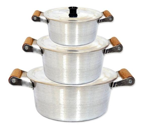3 Caçarolas Arary Alumínio Com Tampa 2,5l, 2l E 1,9l