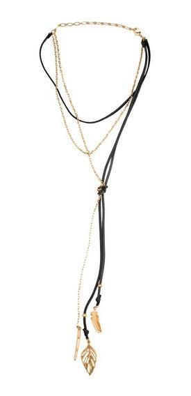 Luckyly Collar Mujer Choker Simone, Piel, Cadena Y Dijes Oro