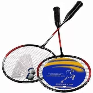 Kit Raquete Badminton E Peteca Gold Sports