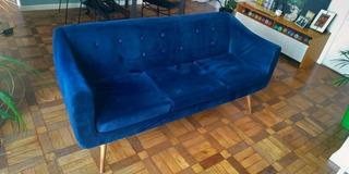Sofá 3 Lugares De Design Retro Suede Azul Marinho