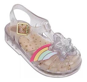 Sandalia Mini Melissa Possession Vidro Ouro Purpurina 32442