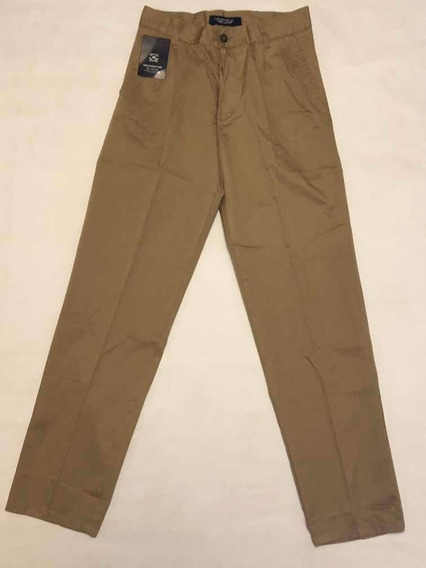 Pantalon Pinzado Kevingston Talle 40 Beige Classic Fit