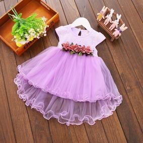 Vestido Lilás - Lavanda - Flores - Batizado - Festas - Bebê