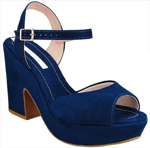Sandalia Moleca Camurca Salto 10cm - 5292101 Azul Bebe