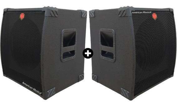 Kit C/ 2 Gabinete Caixa Acústica Sub Grave Para Falante 15 P