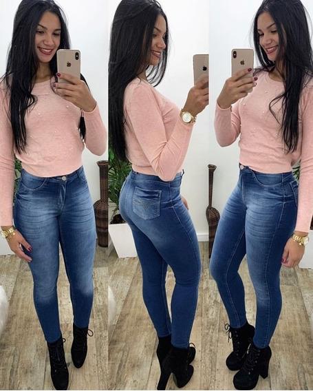 Calça Jeans Skinny Feminina Manchada Hot Pants Com Bolsos Cintura Alta Levanta Bumbum Com Lycra Elastano