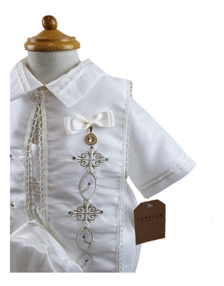 Ropón De Bautizo Niño Mameluco Bombacho Kit Completo Incluido Medalla Chapa De Oro 18k Diseños Carycar