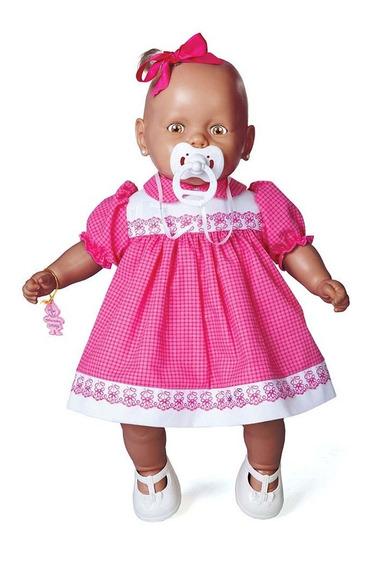 Boneca Nenezinho Negro Vestido Rosa 44 Cm - Estrela Estrela