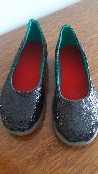 Balerina Zapatillas Chatitas Niñas Glitter Negro Talle 30