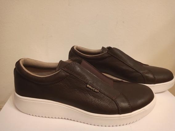 Zapatos Brucap Con Elástico Color Marrón.