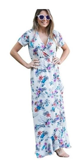 Vestido Longo Floral Decote V Babados Verão Moda Novela