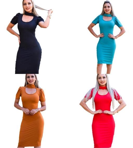 Kit C/ 4 Vestidos Moda Evangélica Malha Canelada Promoção