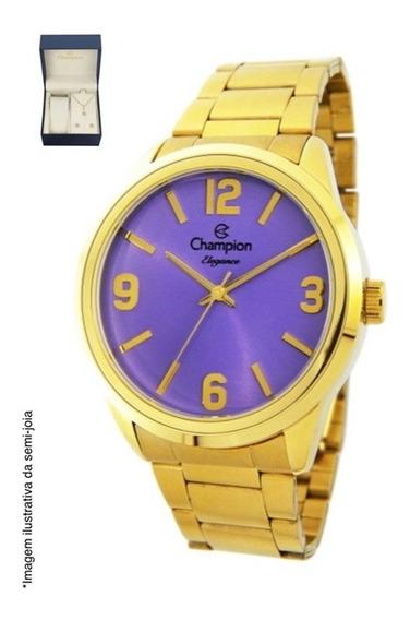 Kit Relógio Feminino Champion Dourado Colar/brinco Cn27232o