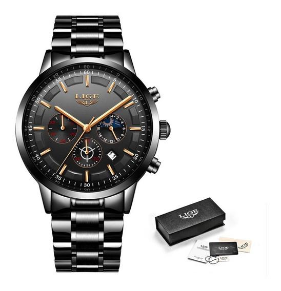 Relógio Masculino Lige Original Com Garantia Com Calendário