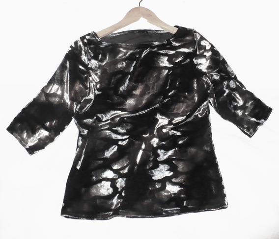 Sweater Remera 3/4 Terciopelo Con Lycra Fiesta Vestir