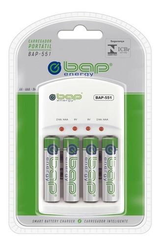 Imagem 1 de 3 de Carregador Pilha Bap Energy Bap551 + 4 Pilhas Recarregáveis