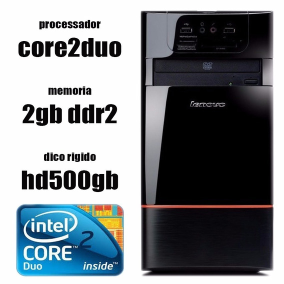 Pc Lenovo E200 Core2duo + 2gb + Hd500gb + Dvd + Leitor De Sd