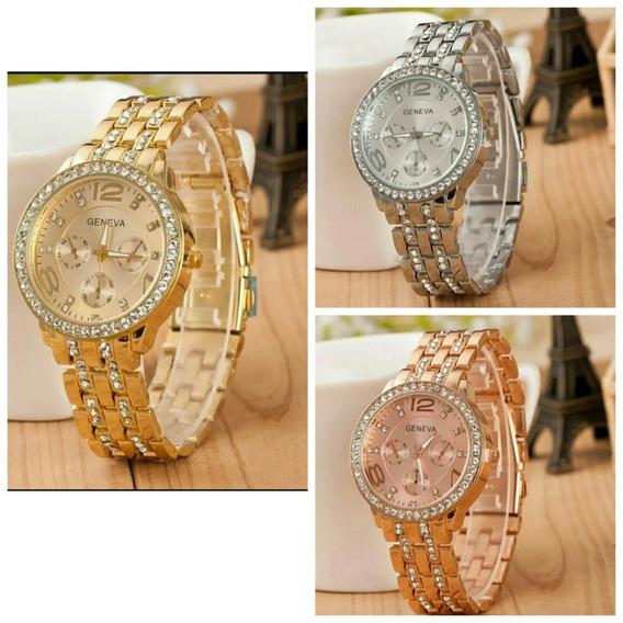 Relógio Feminino Dourado Prata Rose Luxo Promoção Barato