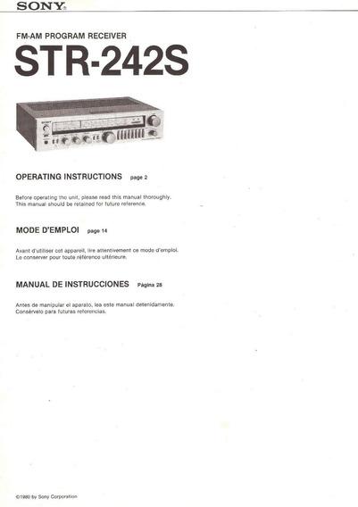 Manual Sintoamplificador Sony Str-242s En Español 1980 (pdf)