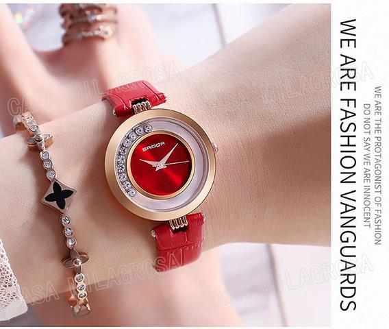 Relógio Feminino Casual Luxo Importado Couro Vermelho