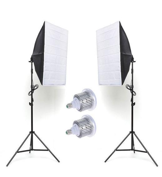 Kit 2x Softbox Led 50x70 210w + Tripé + Lâmpada 5500k Bivolt