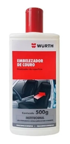 Embelezador De Couro Wurth 500g Hidratante, Limpa E Conserva