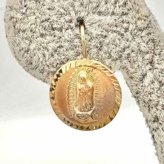 Aretes Virgecita Oro Solido 10k Circular Niña 1.1 Cm