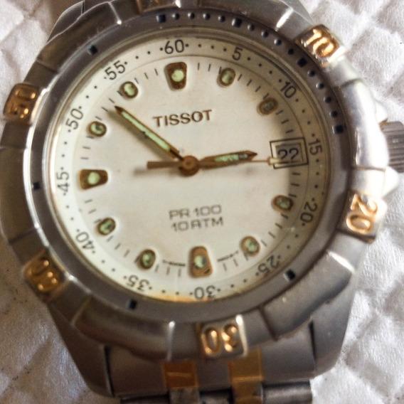 Excelente Relógio Tissot Quartz Pr 100, 40 Mm. Aço Ouro