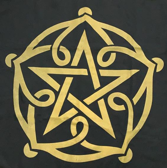 Toalha Para Tarot Altar Pentagrama Pt Dr Wicca 70x70cm