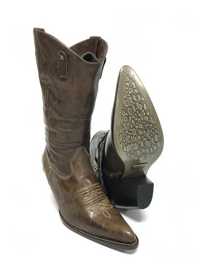 Bota Texana Country Feminina Vimar 2 Em 1 Bico Fino Ajustável 100% Couro - Super Confortável Modelo Único E Exclusivo!