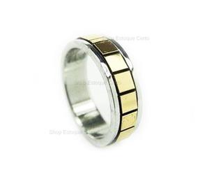 Anel Aliança Aço Inox Prata Com Detalhes Dourados Unisex 6mm