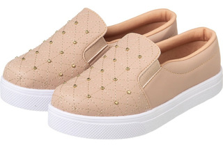 Tênis Slip On Nude Costurado