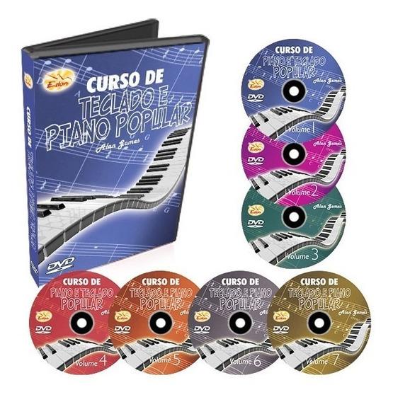 Coleção Curso Teclado E Piano Popular Em 7 Dvds - Original