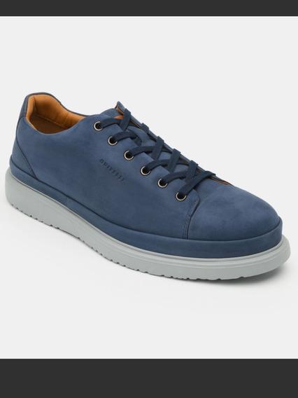 Tenis De Piel Sneaker Azul Quirelli #28.5 Para Hombre
