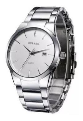 Relógio Curren Prateado Vintage Aço Inoxidável Luxo 3atm