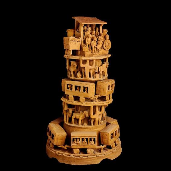 Magnífica Grande Escultura Em Cerâmica Torre Do Trem De Nena