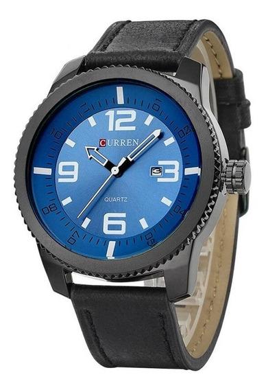 Relógio Masculino Curren 8180 Preto E Azul