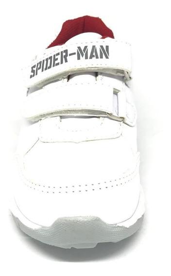 Tenis Spider Man Hombre Araña Zuma Blanco Escolar Sintético