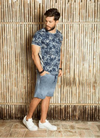 Camista Masculina Surf.com Estampa Tropical Azul Com Cinza
