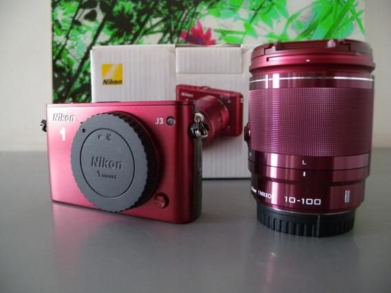 Câmera Nikon 1 J3 Kit Lente Zoom 10-100mm Cor Vinho Linda Sp