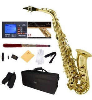 Saxofon Alto Sax Dorado Cecilio Mendini + Accesorios