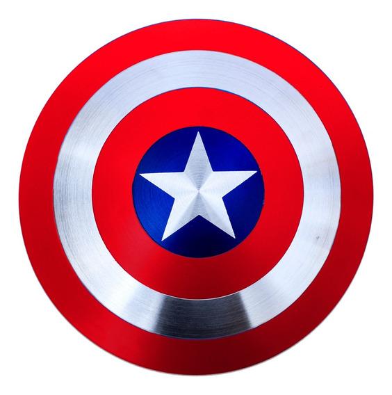 Escudo Do Capitão América Feito Em Alumínio Com Alças 30cm