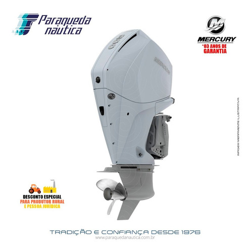 Motor De Popa Mercury 4 Tempos 300hp Xl V8 Dts Branco