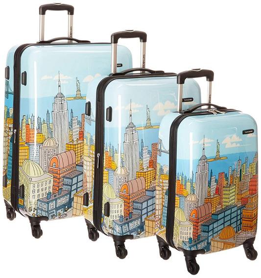 Set Valijas Samsonite 3 Piezas 4 Ruedas New York Exclusivo