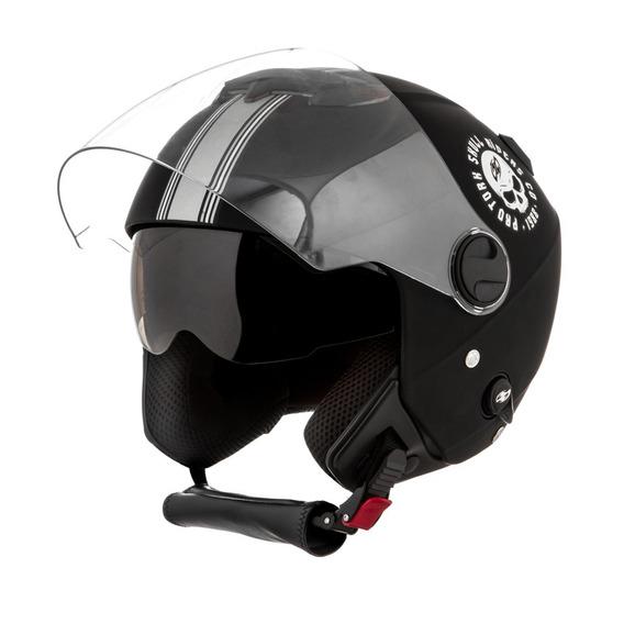 Casco Pro Tork New Atomic Skull Riders Negro/plata Mate G