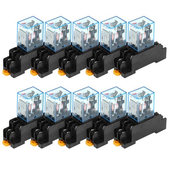 JohnJohnsen AC 220V Rel/é de Potencia de Bobina LY2NJ DPDT de 8 Pines PTF08A JQX-13F con Base de Enchufe Interruptor de m/ódulo electromagn/ético Micro Mini electr/ónico