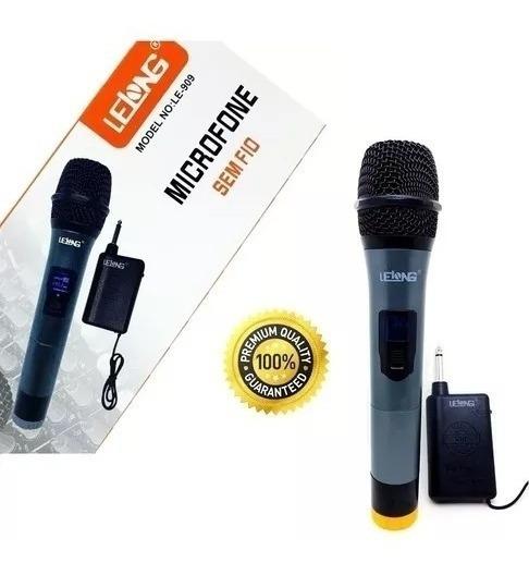 Microfone Sem Fio Lelong Profissional Le-909 30 Uhf Metros