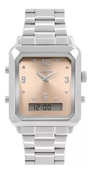 Relógio Condor Feminino Prata Anadigi Quadrado Cobj3718ac/4m