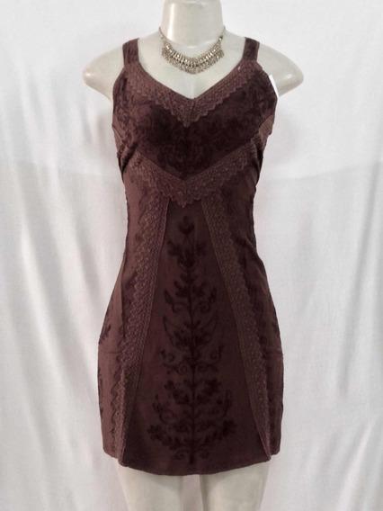 Vestido Indiano Curto Stone, Viscose, Alça, Marrom Café