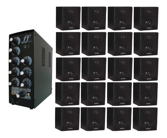 Kit 20 Caixa Som Ambiente E 1 Amplificador E Setorizador